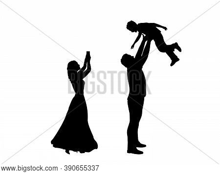 Silhouettes Mother Takes Pictures On Phone And Father Throws Son Up. Illustration Graphics Icon Vect