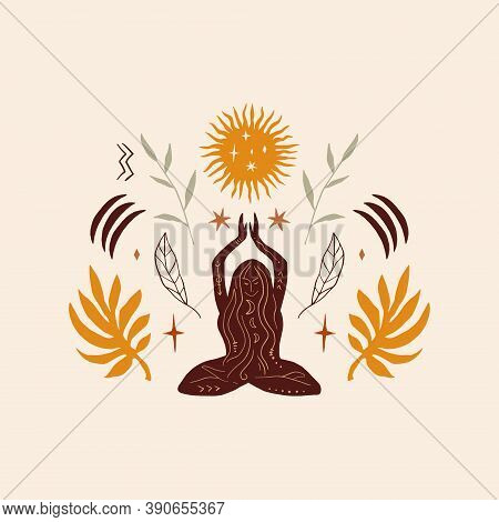 Lotus Yoga Boho Girl Pose, Meditation Silhouette Art