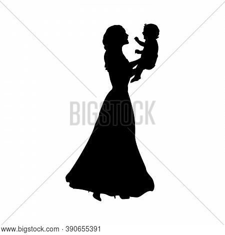 Silhouette Happy Mother Holding Newborn Baby. Illustration Graphics Icon Vector