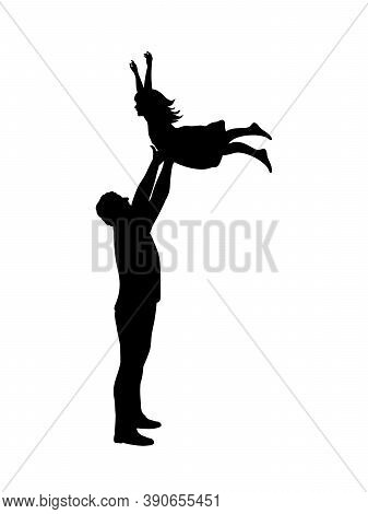 Silhouette Father Throwing Daughte And Catching Her. Illustration Graphics Icon Vector