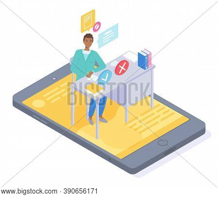 Isometric 3d Illustration Of Smartphone. Online Consultation Physician Therapist Doctor Through Vide