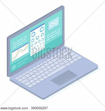 Laptop With Medical Website, Online Checking Vision In Virtual Medical Cabinet In Internet, Chart Ey