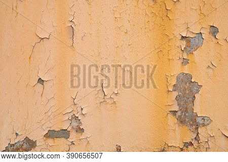 Old Rusty Orange Plaque For The Background, Rust Damages Old Plaque Wall, Old Rusty Orange Old Plaqu