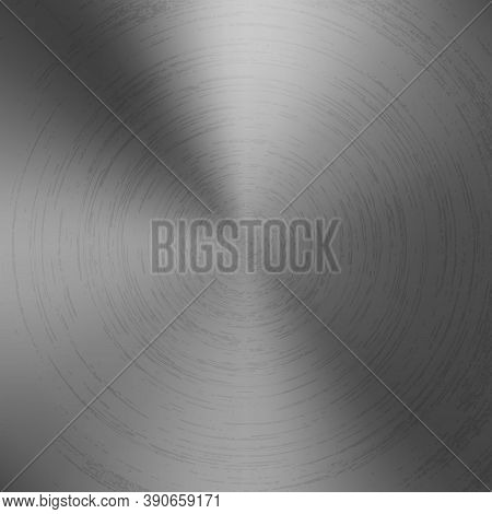 Radial Polished Texture Gray Metal Background. Vector Textured Technology Titanium Background With C