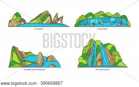 Indonesia Landmarks, Nature And Travel Flat Icons
