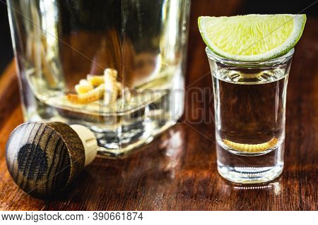 Glass And Bottle With Mezcal (or Mescal) Is Commonly Known As Tequila With Larvae Or Worm, An Exotic