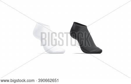 Blank Black And White Low Cut Socks On Tiptoe Mockup, 3d Rendering. Empty Elastic Liner Footwear Moc