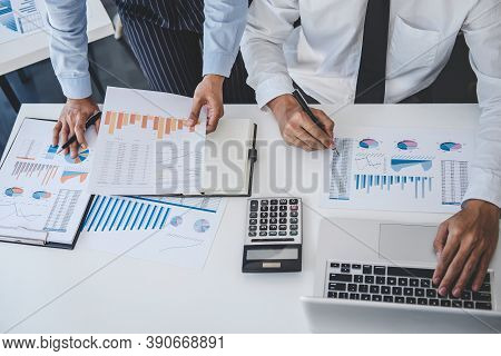 Teamwork Of Business Team Consulting Market Growth On Financial Document Graph Report Statistics, Pr