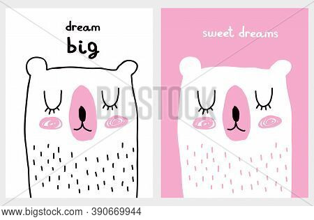 Dream Big. Cute Vector Illustration With Big White Bear. Infantile Style Nursery Art With Funny Hand