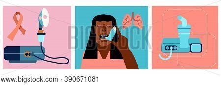 World Copd Awareness Month Illustrations Set.chronic Obstructive Pulmonary Disease Concept.internati