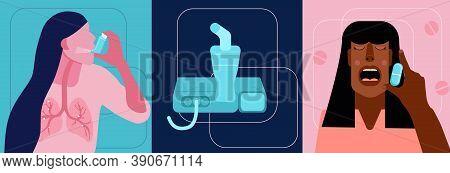 World Copd Awareness Month Illustrations Set.chronic Obstructive Pulmonary Disease Concept.nebulizer