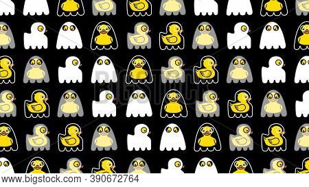 Halloween Seamless Pattern. Yellow Duck Cute Ghost