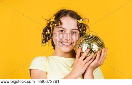 Night Club. Hairdresser Salon. Fancy Teen. Retro Party. Cheerful Girl With Disco Ball. Fashion Kid P