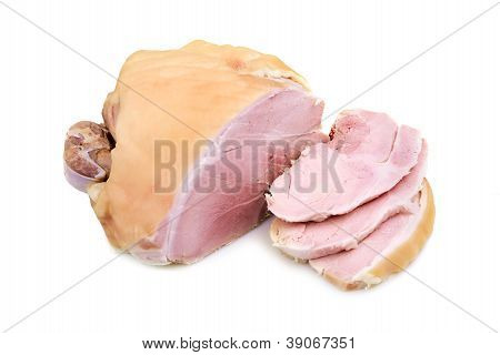 A smoked pork ham isolated on white poster