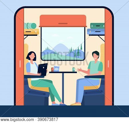 Happy People Traveling By Train Flat Vector Illustration. Cartoon Characters Sitting Near Window Dur
