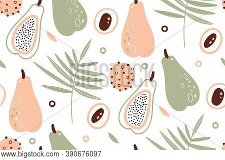 Papaya Pattern. Tropical Fruits. Scandinavian Style. Citrus Wallpaper. Vector Texture. Flat Icons Pa