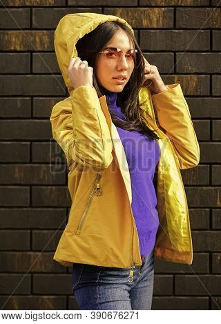 Girl Short Jacket Urban Style. Feel Authentic. Female Psychology. Woman Fashion Model Outdoors. Woma