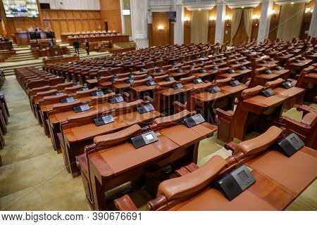 Bucharest, Romania - October 20, 2020: Empty Seats In The Romanian Parliament's Chamber Of Deputies