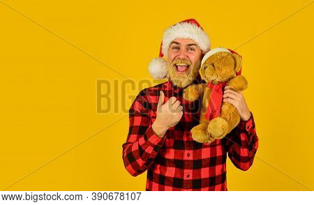 Christmas Time For Mercy. Charity Project. Bearded Man Celebrate Christmas. Kind Hipster With Teddy
