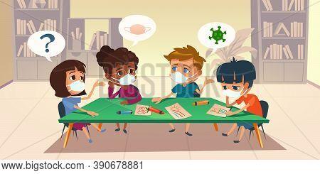 Kids In Masks At School Or Kindergarten During Coronavirus Epidemic. Multiracial Children Sitting Ar