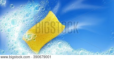 Cleaning Foam With Yellow Sponge And Bubbles On Blue Background With White Stains, Froth, Foamy Text