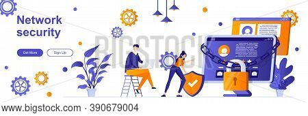 Network Security Landing Page With People Characters. Online Server Protection System Web Banner. Pe