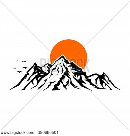 Landscape Nature Vector Or Outdoor Mountain Silhouette For Element Design. Mountains And Travel Icon