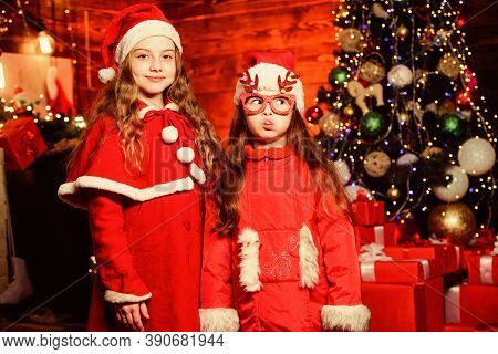 Christmas Sales. Small Girl Kids In Red Santa Hat. Christmas Time. Love Winter Holidays. Winter Shop