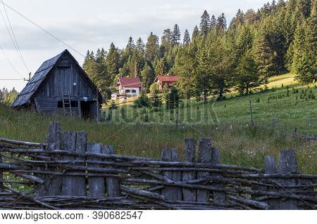 An Old Mountainside Log Cabin Surrounded By Trees And Grass In Tara National Park In Serbia
