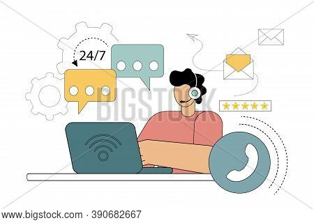 Hotline Operator, Online Service, Customer Consultation, Operator, Online Technical Support. Vector