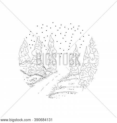 Hand Drawn Line Art Snowfall Design Isolated On White Background