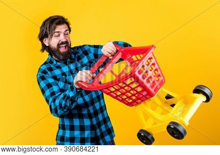 Crazy Driver. Handsome Hipster Wear Checkered Shirt In Shop. Mature Shopper Go Shopping In Mall. Bea