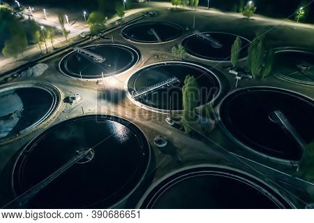 Wastewater Treatment Plant With Tanks For Purification And Filtration Of Urban Waste Water, Aerial V