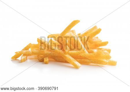 French fries. Fried mini potato sticks isolated on white background.