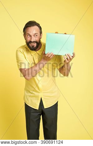 Put Your Purchase In Gift Bag. Fashion Buyer Hold Shopping Bag. Happy Man With Paperbag. Purchase Bo
