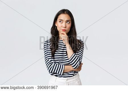 Lifestyle, People Emotions And Casual Concept. Thoughtful Troubled Businesswoman Thinking. Girl Sear