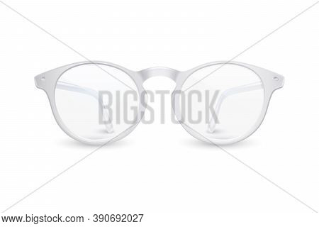 Vector 3d Realistic Plastic Round White Rimmed Eye Glasses Icon Closeup Isolated On White Background