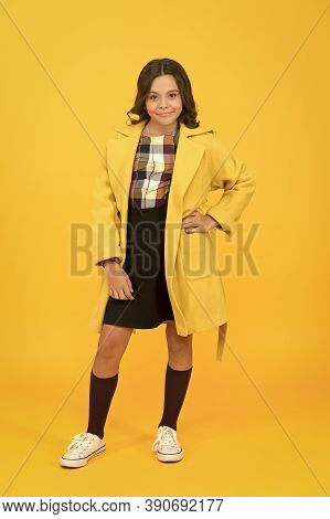 Keep Her Warm And Stylish. Stylish Girl In Formal Coat Go To School. Little Child With Stylish Autum