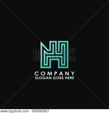 Building House N And H, Nh Letter Logo With Building House Vector Design Of Architectur For Business