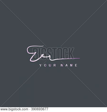 Pink Signature Logo E And R, Er Initial Letter Logo Design. Handwriting Calligraphic Signature Logo