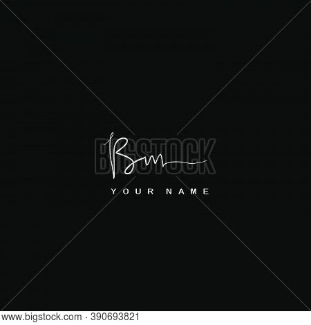 Signature Logo  B And M, Bm Initial Letter. Handwriting Calligraphic Signature Logodesign.
