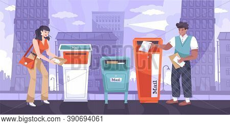 Sending Letter Flat Composition With City Landscape Background And Mailboxes With Sender And Postal