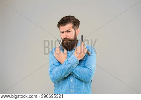 Shaving With A Real Blade Sounds Cool. Bearded Man Prepare Shaving Tools Yellow Background. Hipster