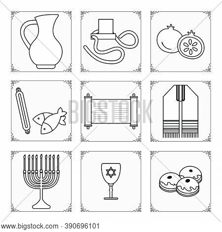 Vector Illustration Jewish Holiday Traditional Symbols Menorah Candles Torah Scroll Tefillin Jug Of