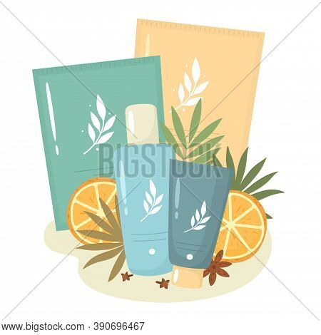 Cosmetic Set With Masks, Tonic, And Face Skin Care Cream With Orange Extracts. Vector Illustration I