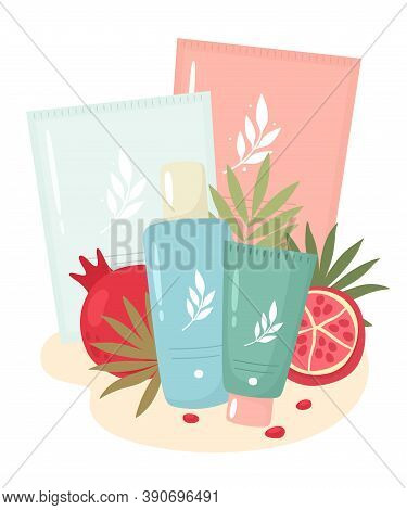 Cosmetic Set With Masks, Tonic, And Face Skin Care Cream With Pomegranate Extracts. Vector Illustrat