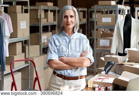 Confident Happy Mature Older 60s Woman Retail Seller, Entrepreneur, Clothing Store Small Business Ow