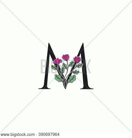Elegance Nature Flower Initial Letter M Logo Icon In Vector Ornate Floral Leaf Clip Art Template Des