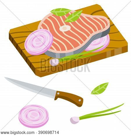 Piece Of Raw Fish On Chopping Board. Chops And Ingredients. Flat Cartoon Illustration. Cooking Food.