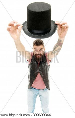 Magician Trick Performance Concept. Circus Magic Trick Performance. Funny Entertainment. Street Perf